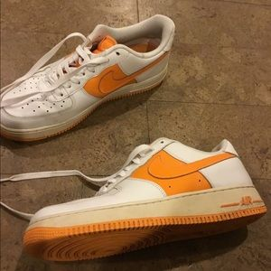 Nike AF1 low orange and white size 10 beaters
